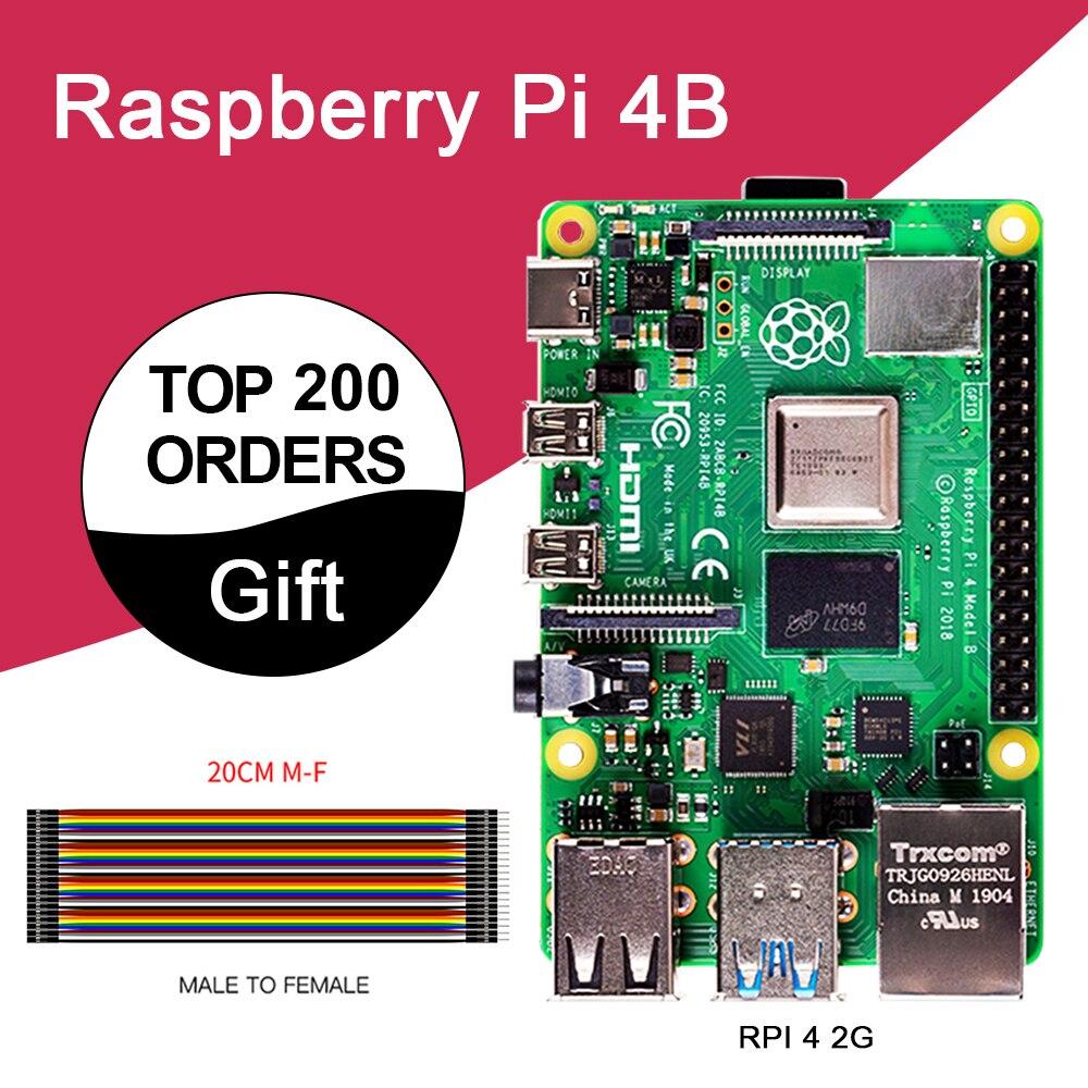 Nouveau Raspberry Pi 4 modèle B 2GB RAM BCM2711 Quad core bras de Cortex-A72 v8 1.5GHz soutien 2.4/5.0 GHz WIFI Bluetooth 5.0