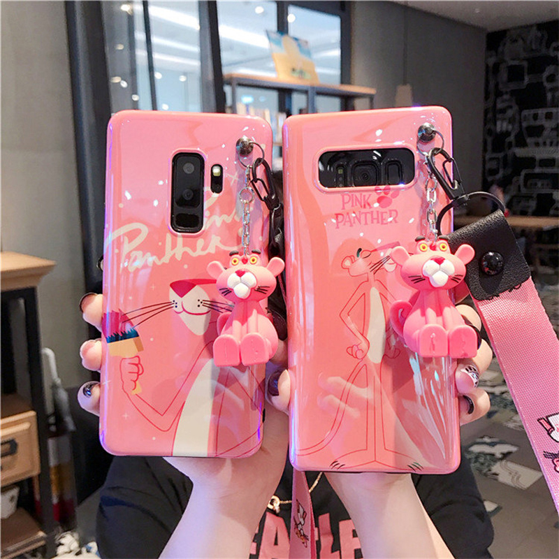 Cute pink panther <font><b>case</b></font>, Cartoon Daisy Soft back cover For <font><b>Samsung</b></font> Galaxy <font><b>S10e</b></font> lite S8 S9 plus Note 8 note 9 Shell <font><b>case</b></font> + strap image
