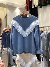 2019 Autumn Sweater Womens Korean Version Round Collar Stitched Lace Fashion Women
