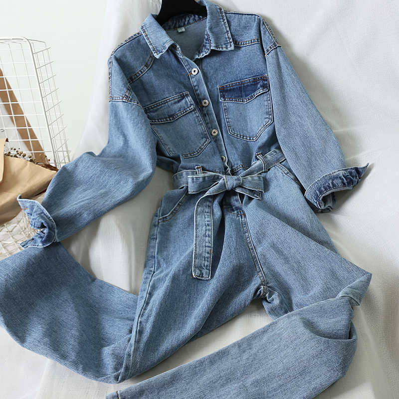 [Ewq] 2020 Herfst Koreaanse Turn Down Kraag Lange Mouw Denim Jumpsuits Slanke Taille Met Riem Single Borst Bodysuit pocket Playsuit
