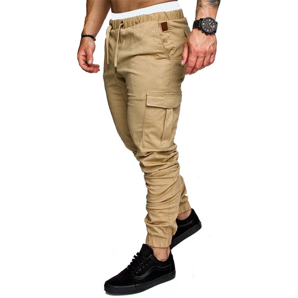 Joggers Casual Pants Side Pockets Sweatpants Mens Hip Hop Solid Slim Trousers Autumn Male Fashion Streetwear Cotton Trackpants