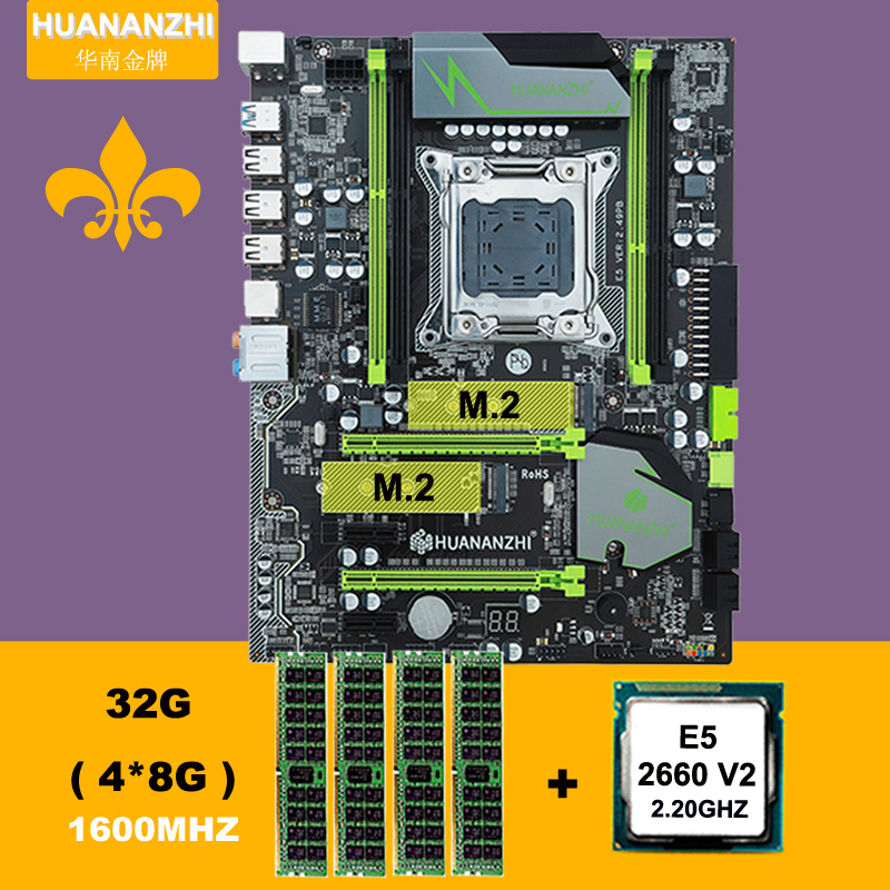 Hot Sale HUANAN ZHI X79 Motherboard With M.2 NVME Slot CPU RAM Bundle CPU Intel Xeon E5 2660 V2 SR1AB RAM 32G DDR3 1600 REG ECC