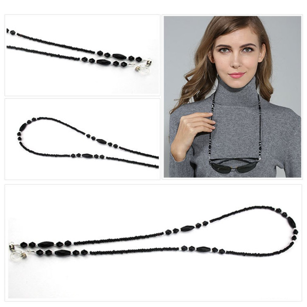 Women Fashion Eyeglass Chains Black Acrylic Beads Chains Anti-slip Eyewear Cord Holder Neck Strap Reading Glasses Rope