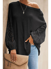 202 Women's Hot sales Solid Color Loose O Neck Long Lantern Sleeve T-shirt Patchwork Hollow Out Tee 2XL