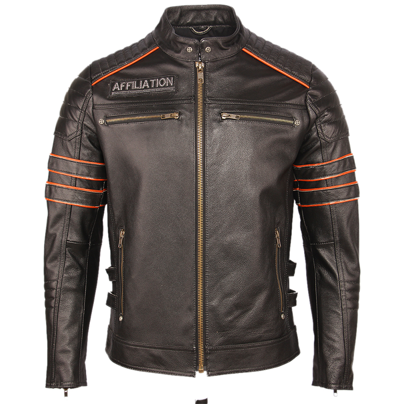 Image 2 - Black Embroidery Skull Motorcycle Leather Jackets 100% Natural Cowhide Moto Jacket Biker Leather Coat Winter Warm Clothing M219Genuine Leather Coats   -