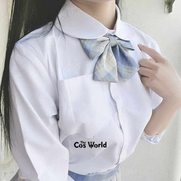 XS-5XL Men's Women's Spring Autumn Round Neck Alicorn Long Sleeve White Shirt Tops Blouses For JK School Uniform Student Clothes