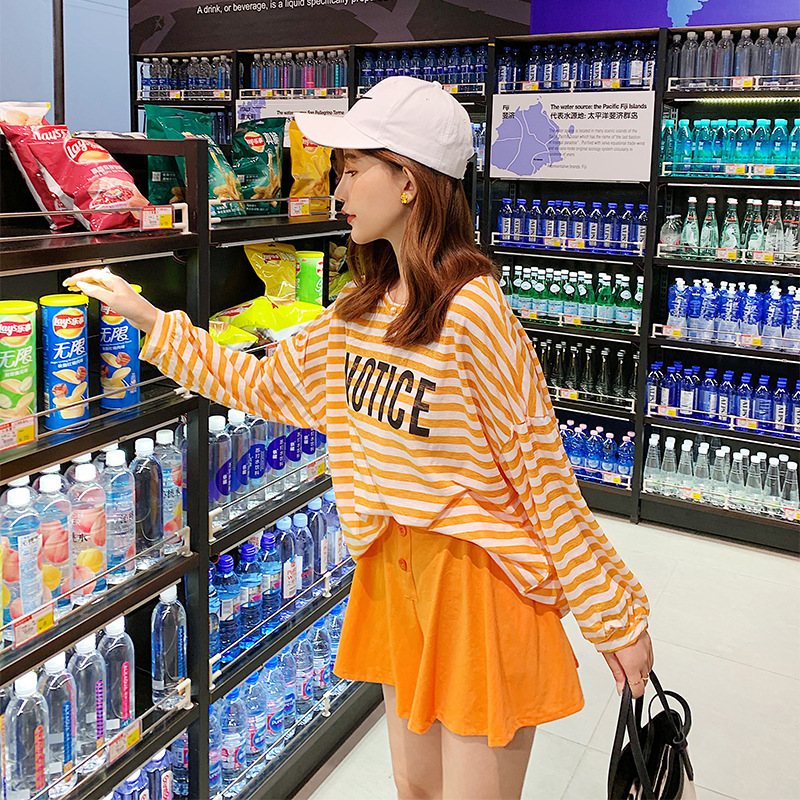 Customizable 2019 Summer Korean-style Lettered Stripes Thin Coat + High-waisted Shorts Casual Two-Piece Set F7419