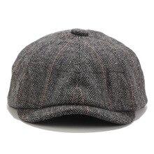 2019 peaky blinders men boinas chapéu outono novo vintage espinha de peixe octógono boné feminino casual chapéu de abóbora gatsby plana boina chapéus
