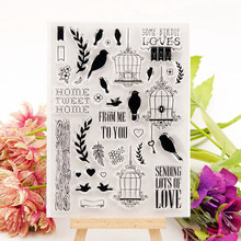 Bird Clear Stamps for DIY Scrapbooking Bird Cage Leaf Transparent Stamps Card Making Album paper Craft Decoration New Stamps bird cage transparent clear silicone stamps for diy scrapbooking card making kids fun decoration supply