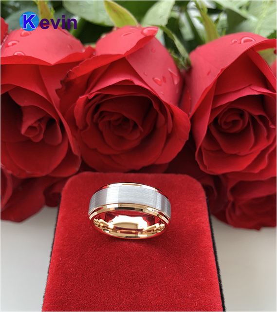 Обручальное кольцо из розового золота мужские и женские вольфрамовые
