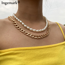 High Quality Multi Layer Baroque Pearl Chain Necklace Women Wedding Punk Chunky Thick Cuban Choker Necklace Aesthetic Jewelry gothic baroque pearl bead pendant choker necklace for women wedding multi layer punk white pearls chain necklace charm jewelry