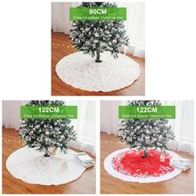 White Tree Skirt High-grade Plush Sequins Embroidered Christmas Decorations