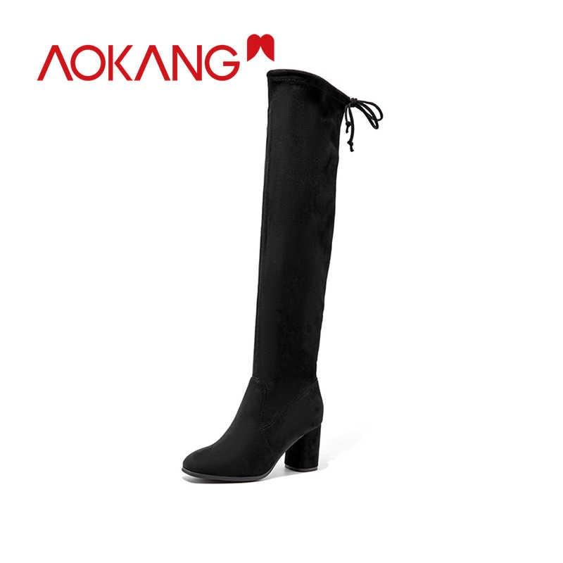 AOKANG femmes sur le genou bottes à talons hauts Sexy Slim Fit élastique bottes femme automne hiver dame longue cuisse haute botas