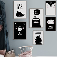 Black White Cartoon Fox Bear Sloth Owl Nordic Posters and Prints Wall Art Canvas Painting Pictures For Baby Kids Room Decor