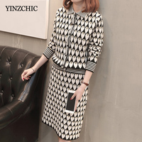 Fashion Jaquard Woman Knit Two pieces Set Casual Female Single Breasted Sweater + Pencil Skirt Sets Autumn Knitted Suits Warm