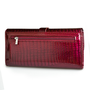 Image 5 - HH 여성 롱 지갑 정품 가죽 지갑 레드 Aligator 패턴 쇠가죽 채찍 지갑 세 배 대용량 클러치 지갑 럭셔리