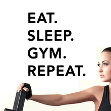 Fashion Wall Sticker Gym Eat Sleep Repeat Quote For Gym Club Fitness Wall Decals Home Decor Sports Hall Wallpaper Mural