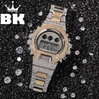 Hiphop Voll Iced Out Männer Uhren Edelstahl Mode Luxus Strass Quarz Square Armbanduhren Business Uhr