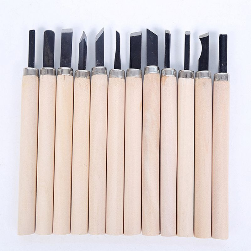 Woodworking 12Pcs Wood Carving Woodcut Hand Chisels Knife Set Cutter Tools for Clay Wax Arts Craft in Chisel from Tools