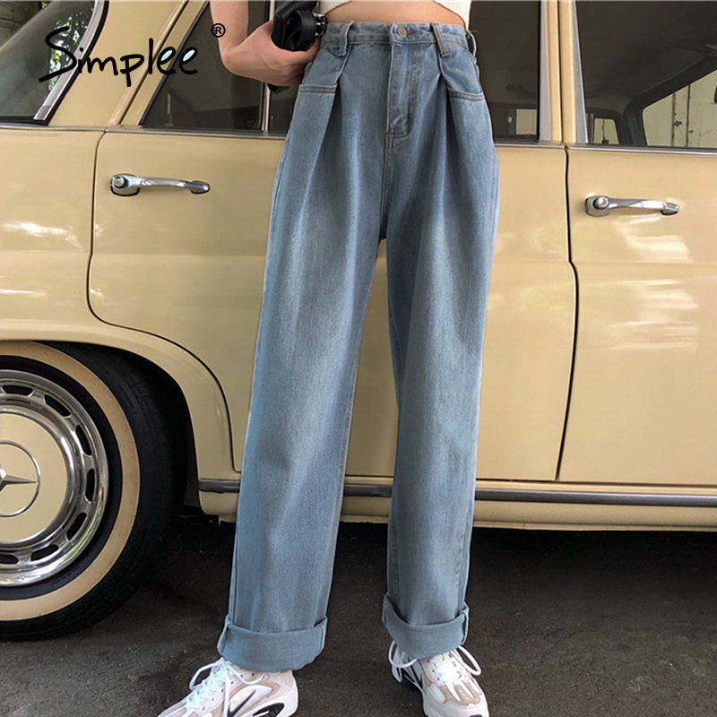 Simplee Casual High Waist Women Jeans Buttons Pockets Zipper Female Loose Denim Trousers Spring Summer Streetwear Ladies Pants