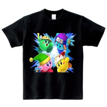 купить Cute Kirby Girl T Shirt Game Kids T-shirts Kirby Star Allies Characters Children Summer Tops girls baby clothes for summer 3T-9T недорого