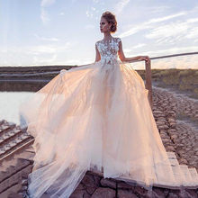 Wedding-Dress Champagne Flowers Tulle Lace Appliques Boho Simple Beach 3D Custom-Made