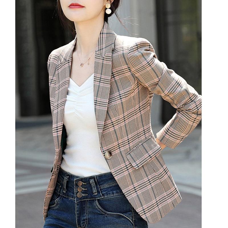 Plaid Small Suit Jacket Female Long Sleeve New Autumn Korean Version Retro Loose Mesh Red Chic Suit Jacket Fashion Women Coat