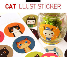 Sandro Stationery Creative Sticker Kawaii Waterproof Cute Cat Cartoon Universal (2 in 18 small pieces) Sealing
