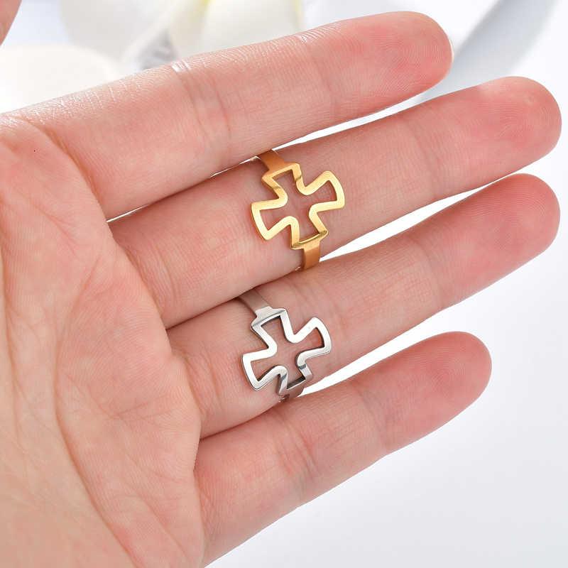 Gold Silver CROSS แหวนสแตนเลสผู้หญิงคริสเตียนเครื่องประดับอินเทรนด์โกธิคเงินสีนิ้วมือแหวน Anillo