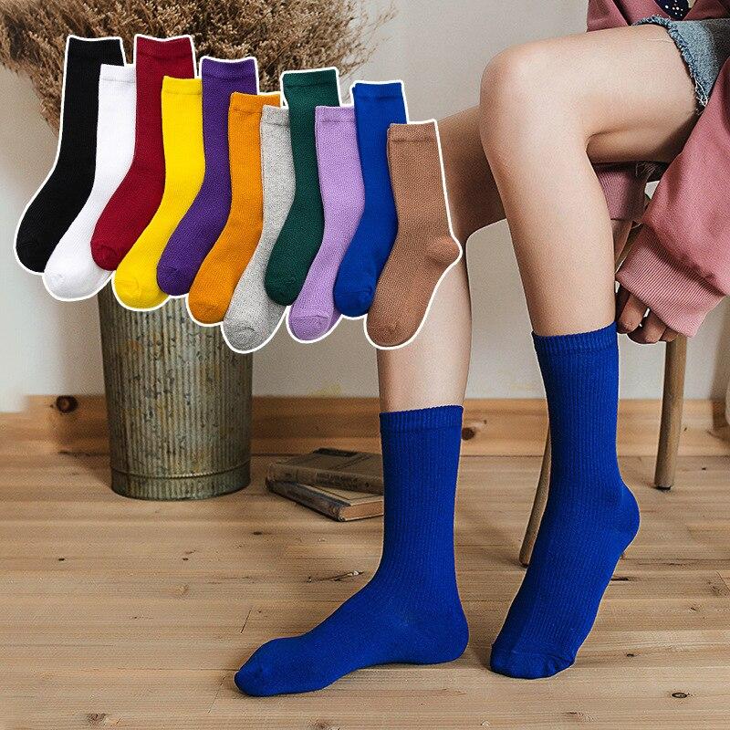 3Pairs Harajuku Retro Women Lady Cotton Loose Socks Winter In Tube Korean Purple Blue Yellow Pink Designer Christmas Cute