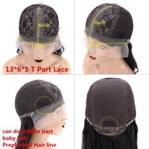 Image 5 - Bordo 99J 13*6 derin kısmı dantel ön İnsan saç peruk bebek saç ile düz ön koparıp Hairline peruk brezilyalı Remy peruk