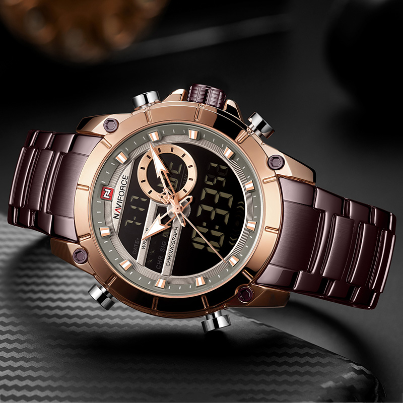 Image 2 - Naviforce Luxury Male Watch with Luminous Dial Digital Quartz Top Brand Man Watches 2019 Brand Luxury Men's Watch Dual Display-in Quartz Watches from Watches