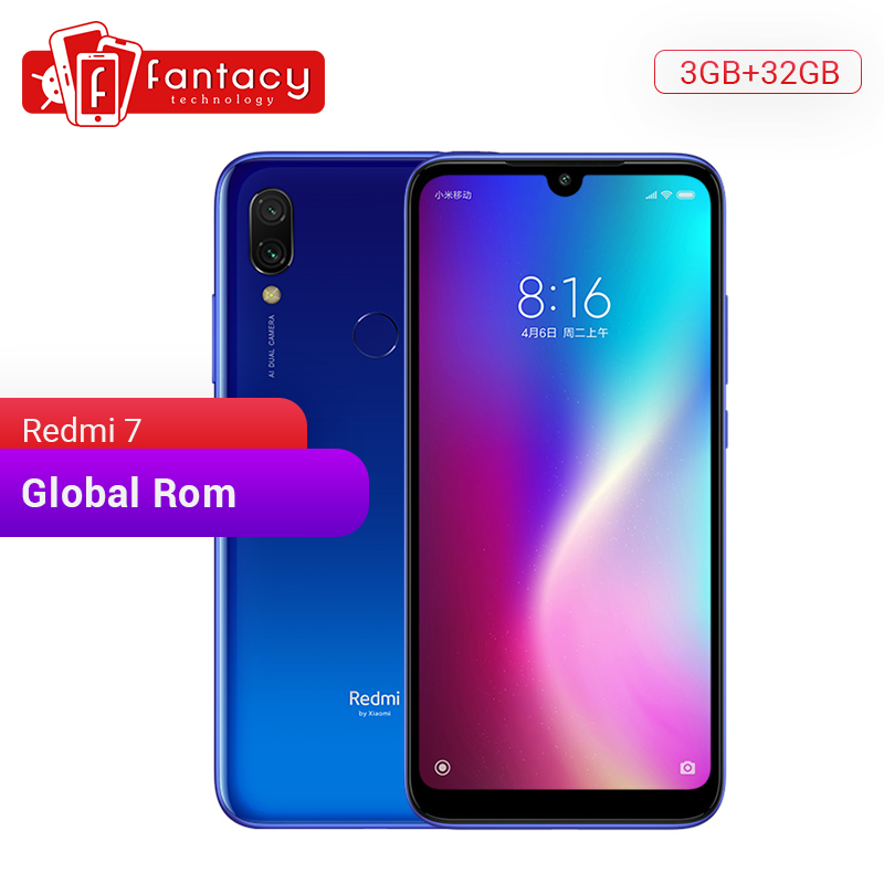 "Global Rom Xiaomi Redmi 7 3GB RAM 32GB ROM Snapdragon 632 Octa Core 12MP Dual Camera 6.26"" HD Mobile Phone 4000mAh Large Battery"