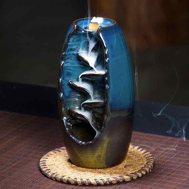 جبل نهر الحرف اليدوية حامل البخور السيراميك ارتداد شلال الدخان مبخرة المبخرة حامل الأم هدية ديكور المنزل