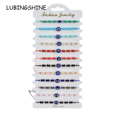 Women Men 12pcs/Sets Blue Turkish Evil Eye Charms Bracelets Crystal Be