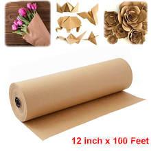 Rouleau de papier Kraft brun de 30 mètres, pour emballage de cadeaux, de mariage, d'anniversaire, de Scrapbooking