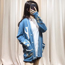 Station 2019 New Heavy Industry Embroidered Letter Woolen Sweater Cardigan Blue Coat Woman V-Neck Cardigans Women Sweaters