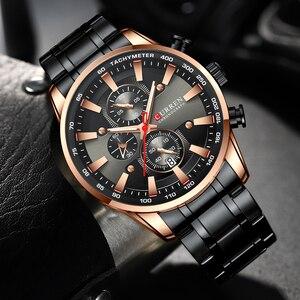 Image 5 - Nieuwe Chronograaf Quartz Horloge Curren Rvs Datum Horloge Klok Mannelijke Lichtgevende Horloges Relogio Masculino
