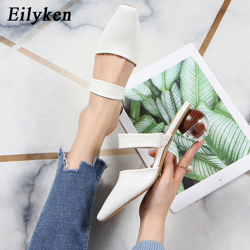 Eilyken Fashion Square Toe Strange Round Low Heels PU Leather Sandals Women Mules Shoes Outdoor Slippers Wedding Ladies Pumps
