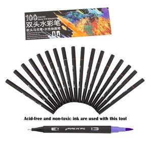 Image 5 - فرشاة ألوان مائية قلم علامات مجموعة لرسم الخط الكتابة على الجدران رسم قلم تحديد حروف القلم 48 60 72 100 Colors