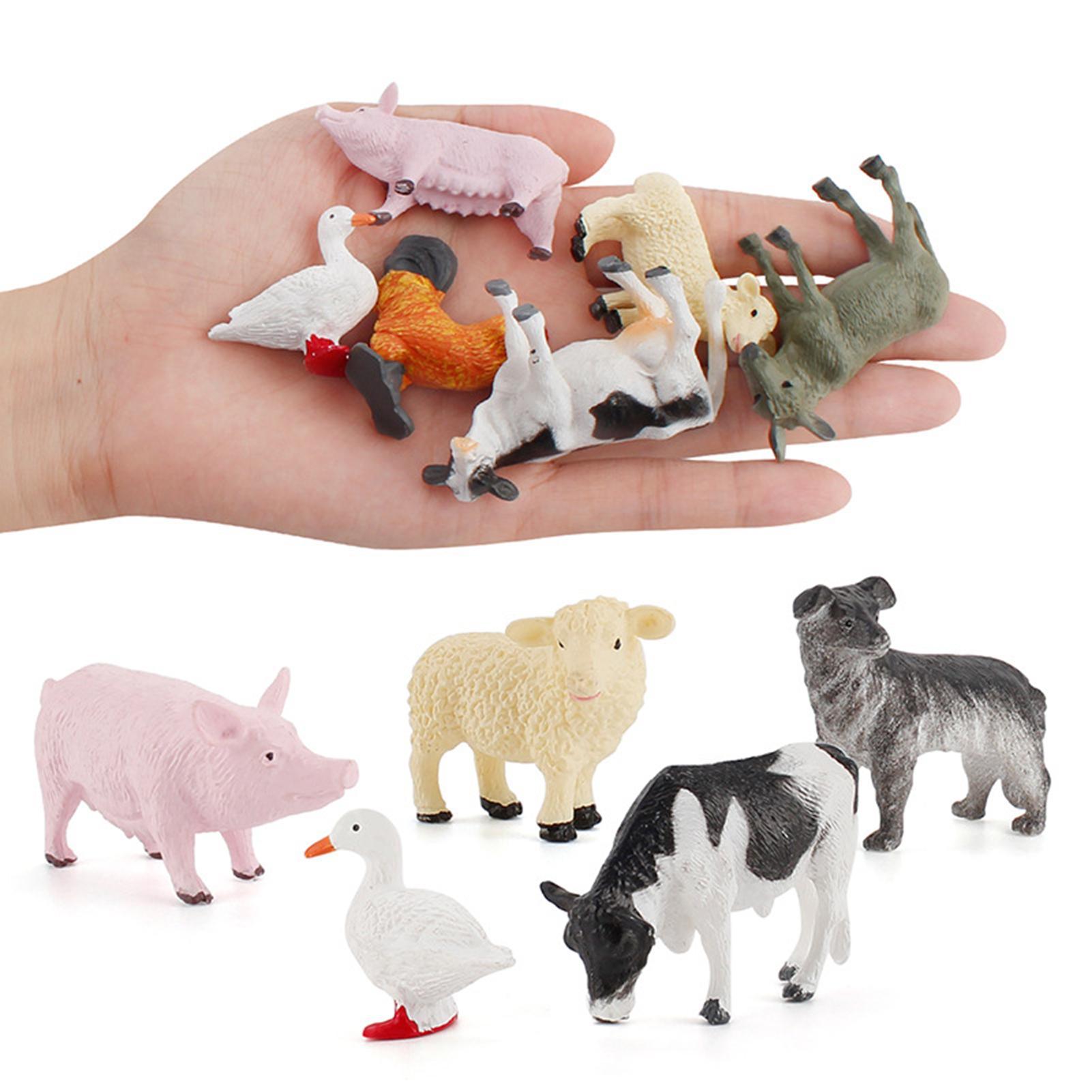 12 шт./компл., мини-украшение для сада с изображением животных из мультфильмов, фермы, птицы, ландшафта, детские развивающие игрушки, подарки д...