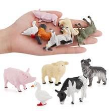 12 pçs/set desenhos animados animal fazenda aves paisagem mini ornamento decoração do jardim crianças brinquedos educativos para crianças presentes