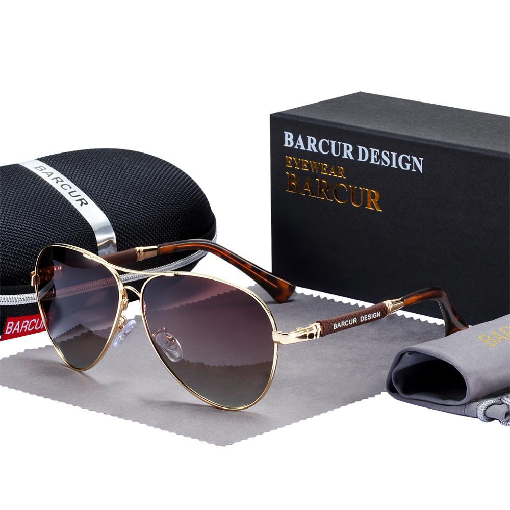 BARCUR Design Titanium Alloy Sunglasses Polarized Men's Sun Glasses Women Pilot Gradient Eyewear Mirror Shades Oculos De Sol 12