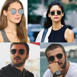 Image 2 - Real Glass Lens UV400 Retro Round Sun glasses sunglasses men women luxury designer brand feminine oculos de sol 3447