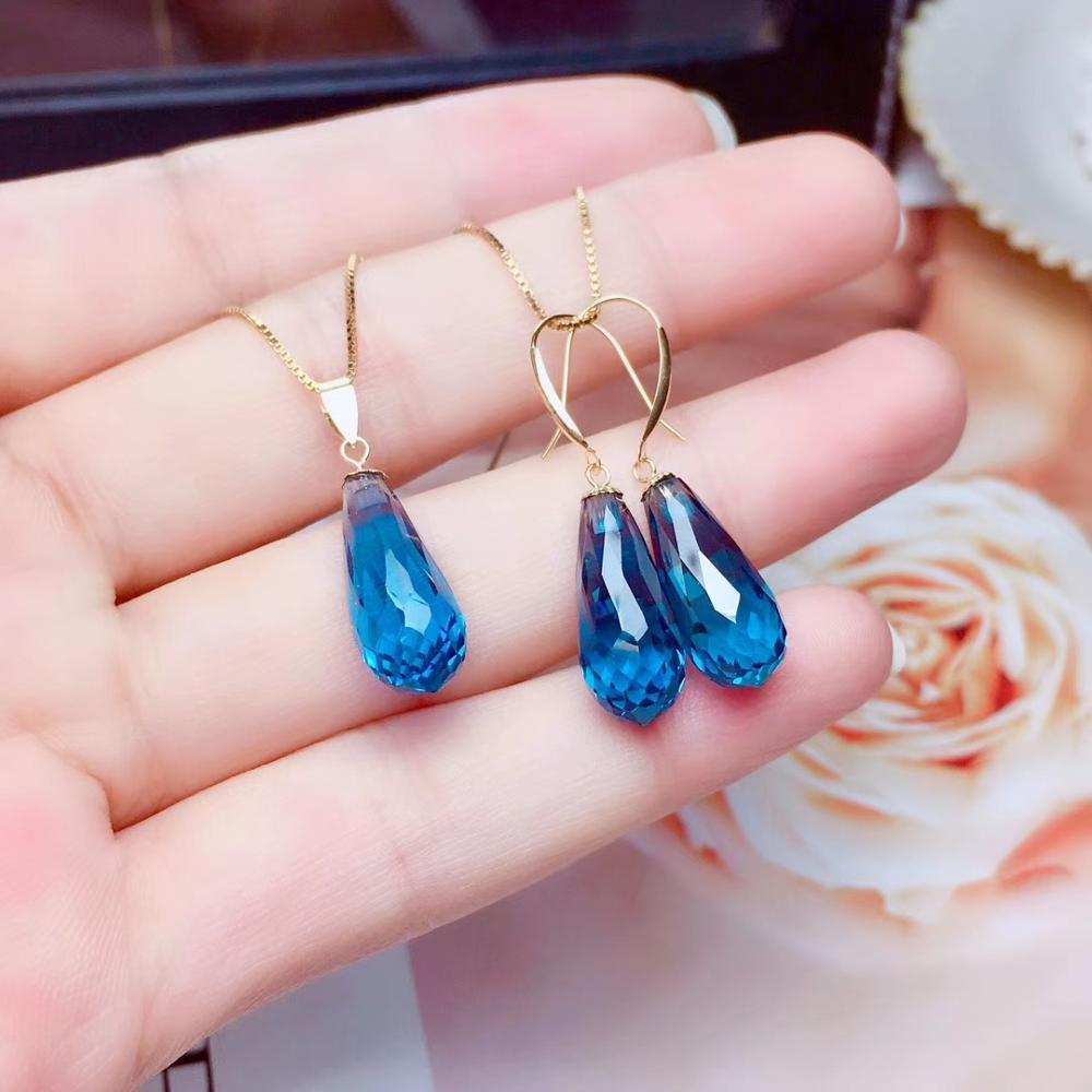 18K or jaune naturel topaze bleu londres ensembles de bijoux en pierres précieuses naturelles pendentif goutte boucles d'oreilles legant goutte d'eau femmes bijoux