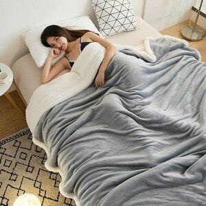 Image 2 - Couverture Raschel Super douce, polaire épaisse, en peluche, corail Double face, chaud pour lit, rose, café, gris