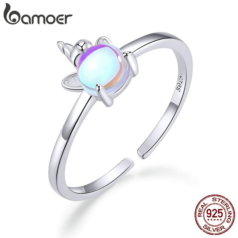 Bamoer Moonstone Finger Rings For Women 925 Sterling Silver Licorne Open Adjustable Ring Elegant Statement Jewelry Gifts SCR642