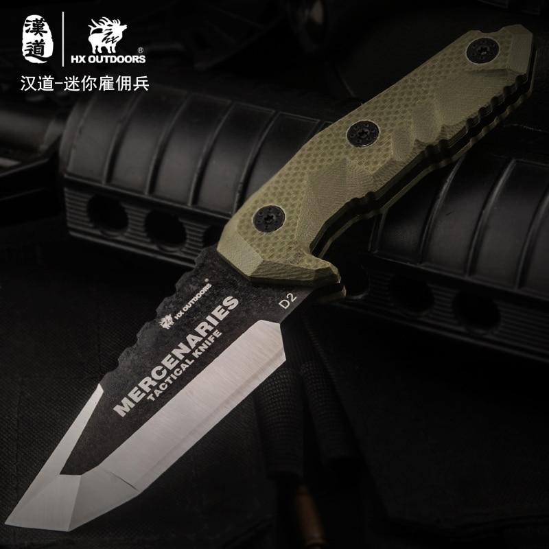 HX OUTDOORS D2 nůž G10 rukojeť D2 ocelová čepel taktický rovný - Ruční nářadí - Fotografie 3