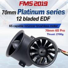 FMS 70mm Ducted מאוורר EDF Jet 12 להבים עם 3060 KV1900 מנוע 6S פרו RC מטוס מטוסי מטוס מנוע כוח מערכת 2700g דחף