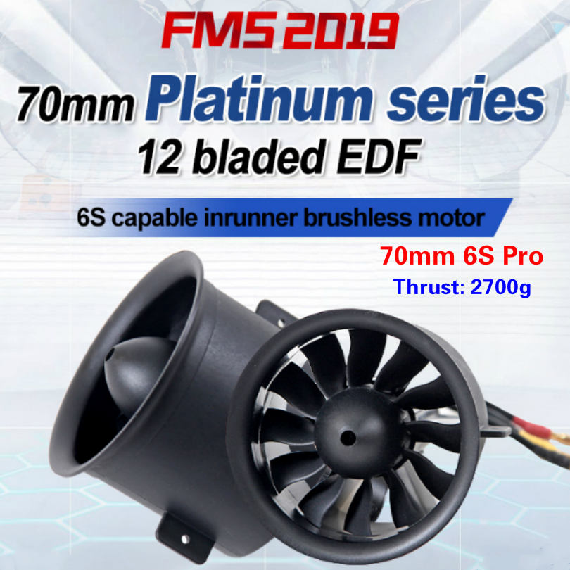 FMS 70mm Ducted Fan EDF Jet 12 Blades With 3060 KV1900 Motor 6S Pro RC Airplane Aircraft Plane Engine Power System 2700g Thrust image